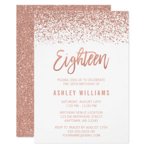 60 off 18th birthday invitations shop now to save zazzle modern rose gold faux glitter 18th birthday invitation filmwisefo