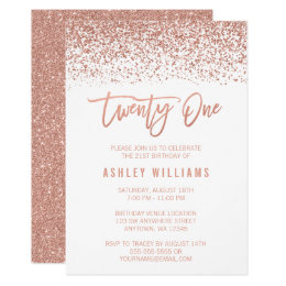 21st birthday invitations announcements zazzle modern rose gold faux glitter 21st birthday card stopboris Image collections