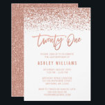 "Modern Rose Gold Faux Glitter 21st Birthday Invitation<br><div class=""desc"">Glamorous rose gold faux glitter twenty-first birthday invitations. Designs are flat printed illustrations/graphics - NOT ACTUAL GLITTER.</div>"