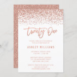 """Modern Rose Gold Faux Glitter 21st Birthday Invitation<br><div class=""""desc"""">Glamorous rose gold faux glitter twenty-first birthday invitations. Designs are flat printed illustrations/graphics - NOT ACTUAL GLITTER.</div>"""