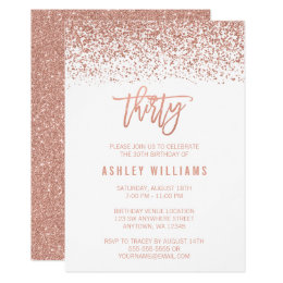 30th birthday invitations announcements zazzle modern rose gold faux glitter 30th birthday card filmwisefo Images
