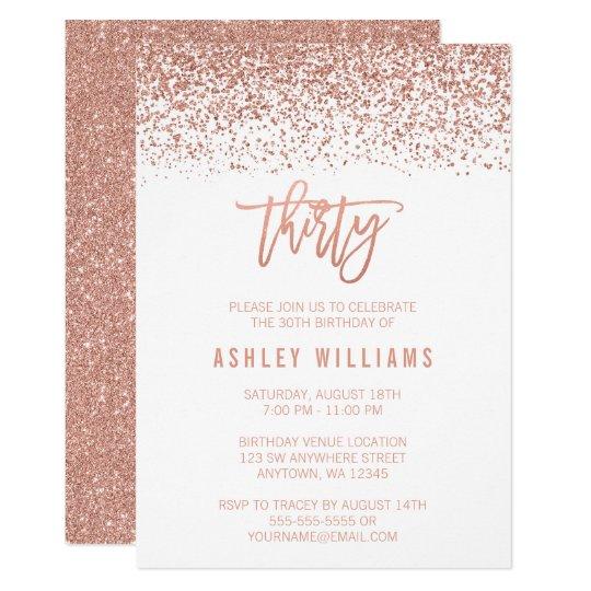 modern rose gold faux glitter 30th birthday invitation zazzle com
