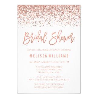 Modern Rose Gold Faux Glitter Bridal Shower Card