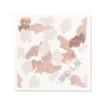 Modern rose gold faux glitter brushstrokes blush napkin