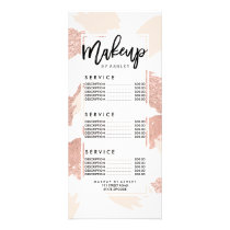 Modern rose gold faux glitter brushstrokes blush rack card