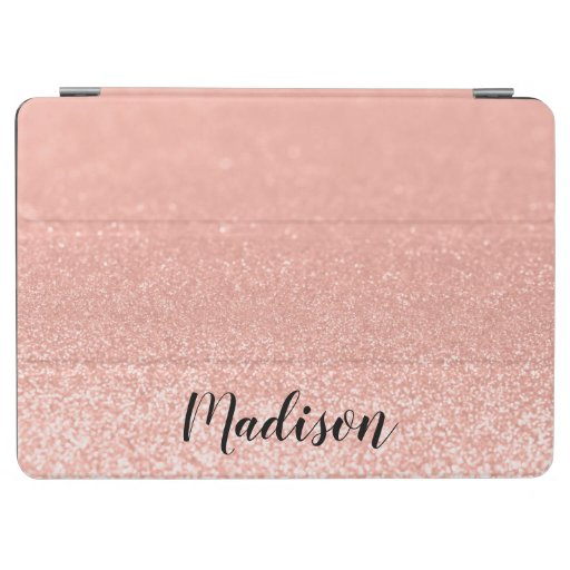 Modern Rose Gold Faux Glitter Personalized iPad Air Cover