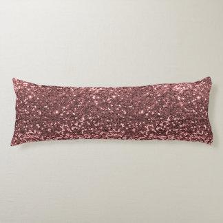 Modern Rose Gold Faux Glitter Pink Print Body Pillow