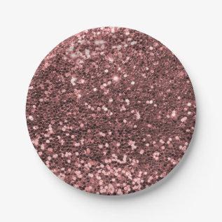 Modern Rose Gold Faux Glitter Pink Print Paper Plate at Zazzle
