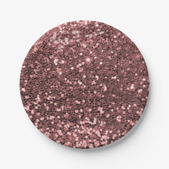 Modern Rose Gold Faux Glitter Pink Print Paper Plate  sc 1 st  Zazzle : pink and brown paper plates - pezcame.com