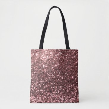 its_sparkle_motion Modern Rose Gold Faux Glitter Pink Print Tote Bag
