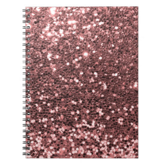 Modern Rose Gold Faux Glitter Print Notebook