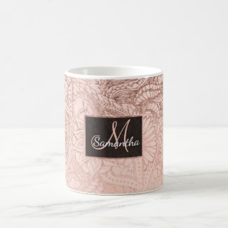 Modern rose gold floral illustration on blush pink coffee mug