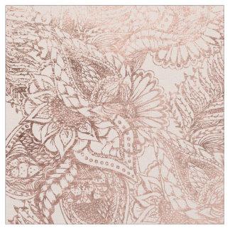 Modern rose gold floral illustration on blush pink fabric