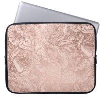 Modern rose gold floral illustration on blush pink laptop sleeve
