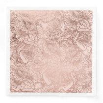 Modern rose gold floral illustration on blush pink paper dinner napkin