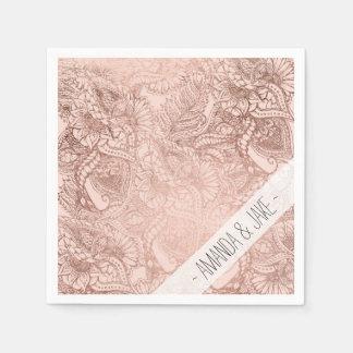 Modern rose gold floral illustration on blush pink paper napkin