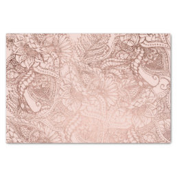 Modern rose gold floral illustration on blush pink tissue paper