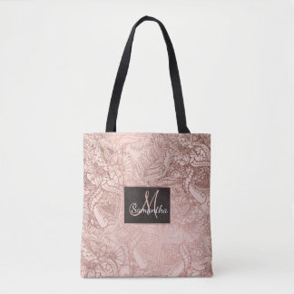 Modern rose gold floral illustration on blush pink tote bag