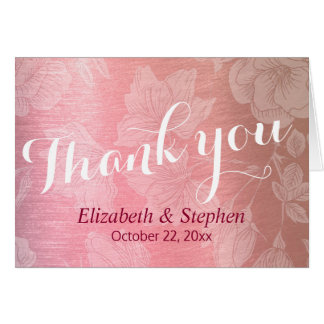 Modern Rose Gold Floral Wedding Thank You Card