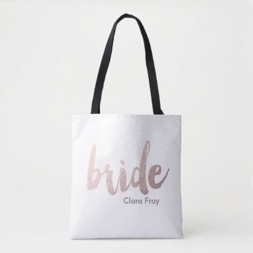 Elipsa modern rose gold foil bride tote bag