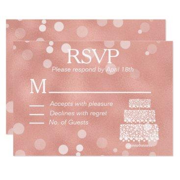 Wedding Themed Modern Rose Gold Foil Confetti Wedding RSVP Card