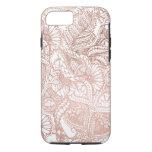 Modern rose gold foil hand drawn floral pattern iPhone 7 case