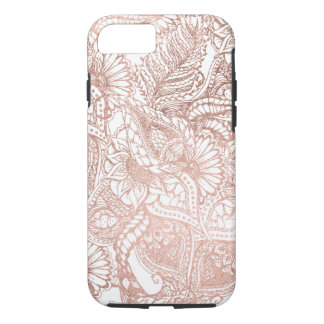 Modern rose gold foil hand drawn floral pattern iPhone 8/7 case