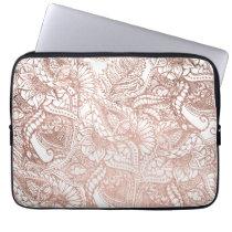 Modern rose gold foil hand drawn floral pattern laptop sleeve