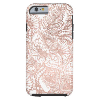 Modern rose gold foil hand drawn floral pattern tough iPhone 6 case