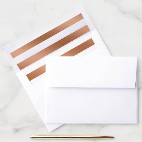 Modern Rose Gold Foil Stripes Trendy Wedding Envelope Liner