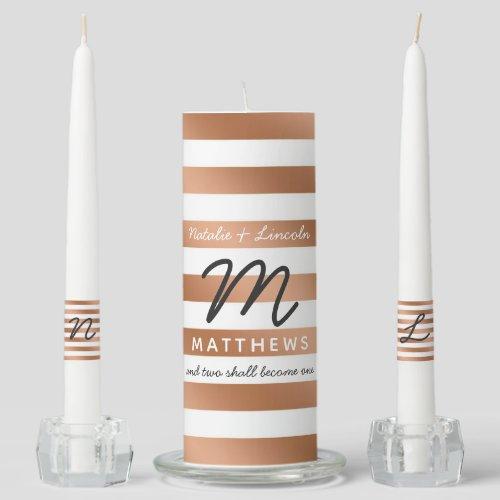 Modern Rose Gold Foil Stripes Wedding Monogram Unity Candle Set