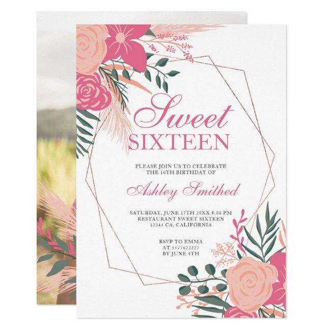 Modern rose gold frame floral photo Sweet 16 Invitation