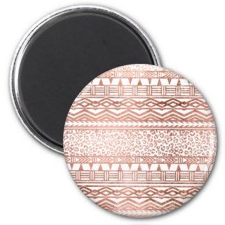 Modern rose gold geometric aztec leopard pattern 2 inch round magnet