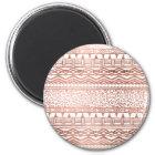 Modern rose gold geometric aztec leopard pattern magnet