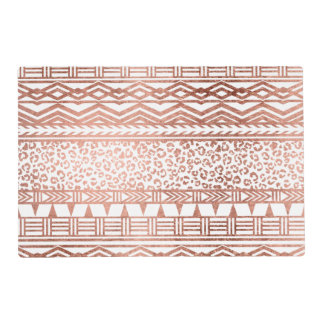 Modern rose gold geometric aztec leopard pattern placemat