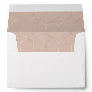 Modern Rose Gold Geometric Design Wedding Envelope