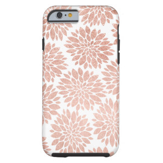 Modern rose gold  geometric floral abstract tough iPhone 6 case