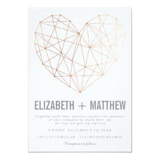 Modern rose gold geometric heart Wedding Invitation