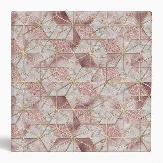 Modern rose gold geometric star flower pattern 3 ring binder