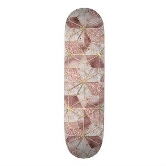 Modern rose gold geometric star flower pattern skateboard deck
