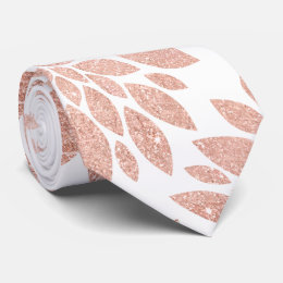 Modern rose gold girly floral abstract geometric tie