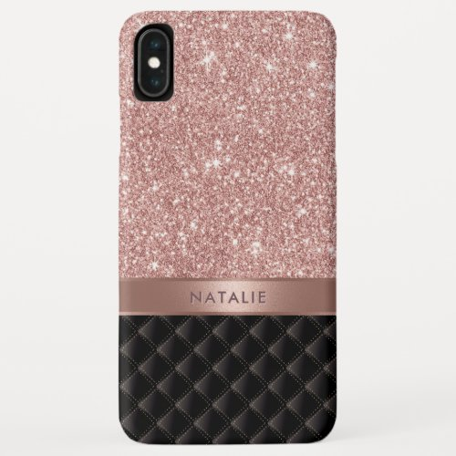 Modern Rose Gold Glitter Black Luxury Custom Name Phone Case