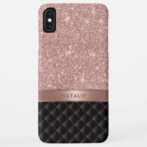 Modern Rose Gold Glitter Black Luxury Custom Name iPhone XS Max Case