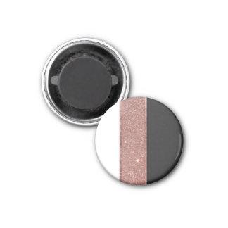 Modern Rose Gold Glitter Black White Color Blocks Magnet