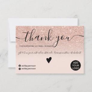 Modern rose gold glitter blush order thank you