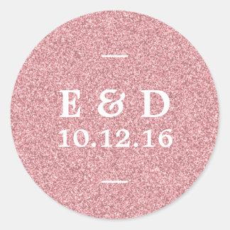 Modern Rose Gold Glitter Chic Wedding Favor Classic Round Sticker