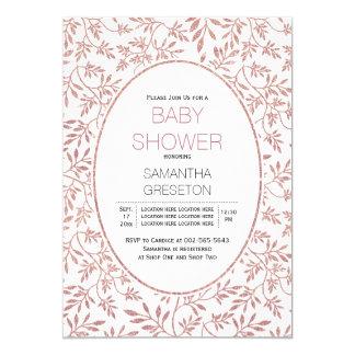 Modern rose gold glitter leaves trendy baby shower card