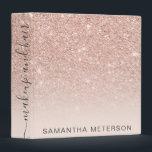 """Modern rose gold glitter ombre blush makeup hair 3 ring binder<br><div class=""""desc"""">Modern rose gold glitter ombre blush makeup hair</div>"""