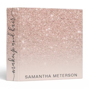 Modern rose gold glitter ombre blush makeup hair 3 ring binder