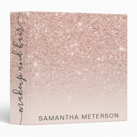 Modern rose gold glitter ombre blush makeup hair 3 ring binder